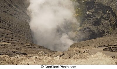 Active volcano with a crater. Gunung Bromo, Jawa, Indonesia....