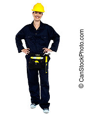 Active woman construction worker
