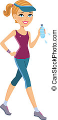 Active woman exercising - Cartoon illustration of woman...
