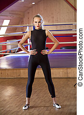Active woman in catsuit