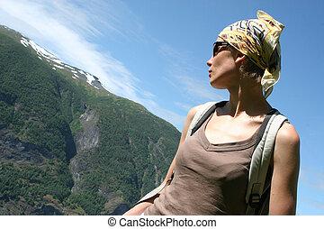 Active woman in head