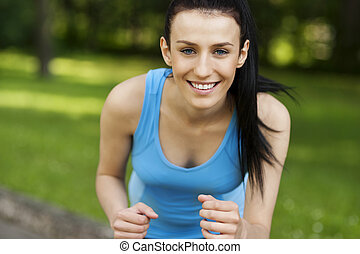 Active woman jogging