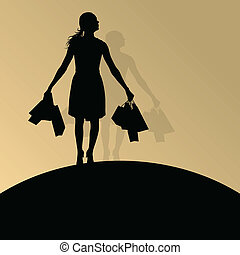 Active woman with shopping bags silhouette vector background...