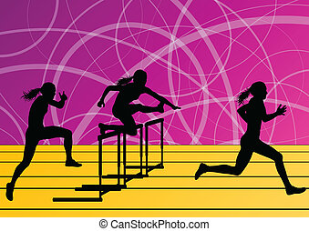 Active women girl sport athletics hurdles barrier running ...