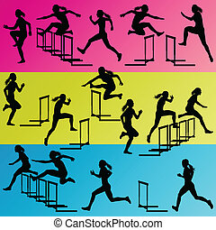 Active women girl sport athletics hurdles barrier running silhouettes illustration collection background vector