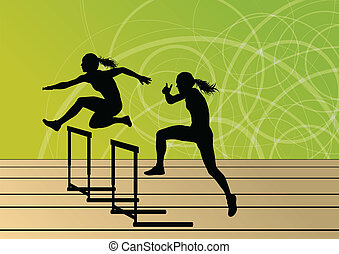 Active women girl sport athletics hurdles barrier running silhouettes illustration background vector