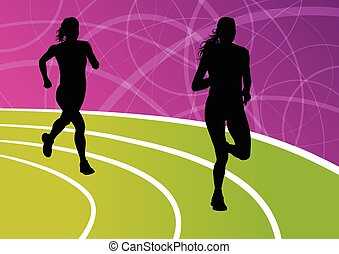 Active women runner sport athletics running silhouettes...