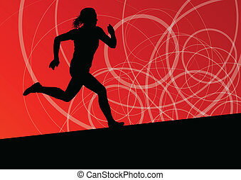Active women sport athletics running silhouettes illustration abstract background vector