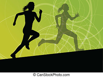 Active women sport athletics running silhouettes...