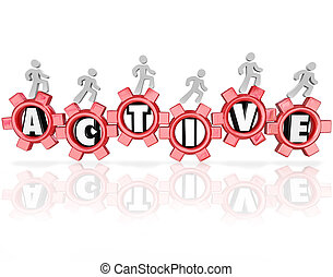 Active Word Gears People Exercising Physical Activity...