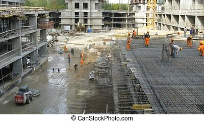 Active work at construction site at Losiniy Ostrov estate