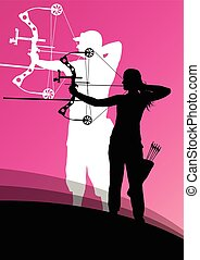 Active young archery sport man and woman silhouettes in abstract