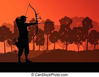 Active young archery sport men