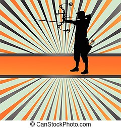 Active young archery sport silhouettes abstract background...