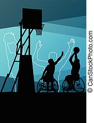 Active young disabled men basketbal