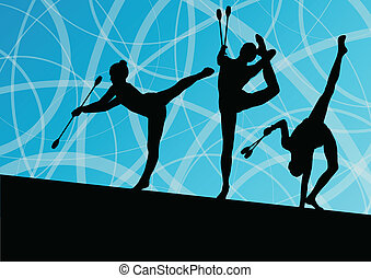 Active young girls calisthenics sport gymnasts silhouettes ...