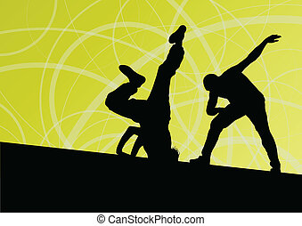 Active young man and woman street break dancers silhouettes...