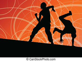 Active young man and woman street break dancers silhouettes in abstract line background illustration vector