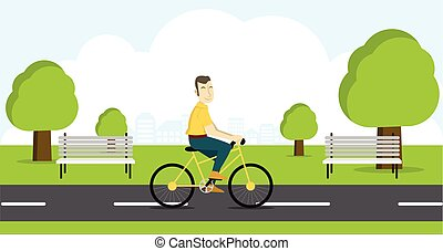 Active young man riding on bicycle.