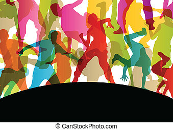 Active young men and women street break dancers silhouettes in abstract background illustration vector