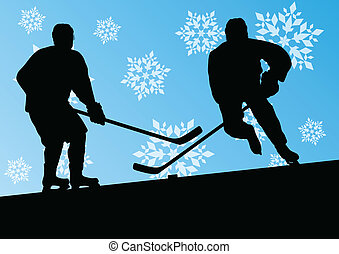 Active young men hockey players sport silhouettes in winter...