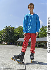 Active young people - teenager rollerblading