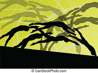 Active young swimmers diving and swimming in water sport pool silhouettes vector abstract background illustration