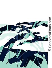 Active young swimmers diving and swimming in water sport pool silhouettes vector abstract background
