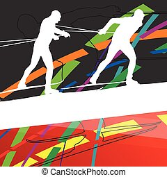 Active young woman and man skiing sport silhouettes in winter abstract line background outdoor illustration