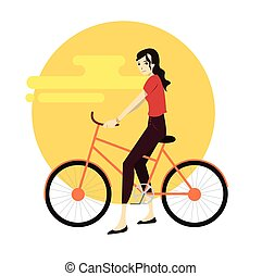 Active young woman riding on bicycle.