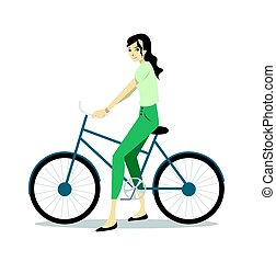 Active young woman riding on bicycle