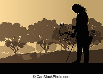 Active young woman sport silhouettes background vector in...