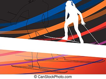 Active young women skiing sport silhouettes in winter abstract line background outdoor illustration