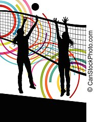 Active young women volleyball player sport silhouettes in ...