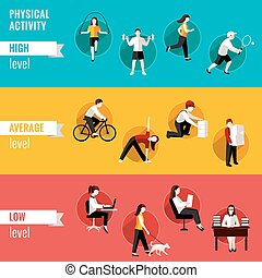 Actividad, físico, iconos. Conjunto, estilo de vida ...