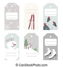 actividades, al aire libre, invierno, etiquetas