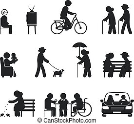 actividades, anciano, ocio