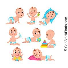 actividades, babys, vector, colección, ilustración