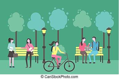 actividades, charlar, sentada de la gente, parque, aire libre
