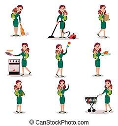actividades, concepto, rutina, diario, vector, mamá, madre, ilustraciones, súper