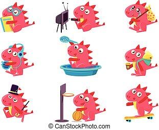 actividades, conjunto, dragón, ilustraciones, diario, rojo