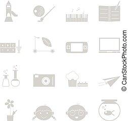 actividades, conjunto, iconos, plano de fondo, blanco, niño