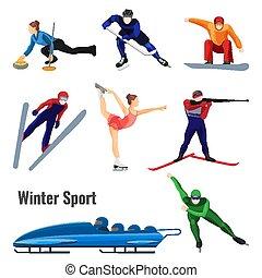 actividades, conjunto, invierno, aislado, ilustración, vector, blanco, deporte
