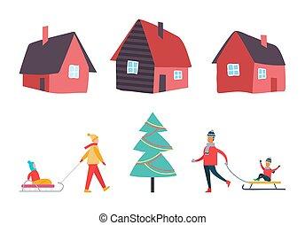 actividades, conjunto, invierno, gente, casas, vector