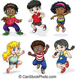 actividades, diferente, gente, atractivo, negro, asiático