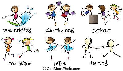 actividades, diferente, seis
