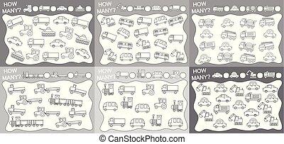 actividades, educativo, conjunto, illustration., objetos, niños, muchos, (6, book., (transport), cómo, vector, juegos, 1):, children., counted?, colorido