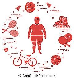 actividades, equipment., grasa, deportes, niño, niños