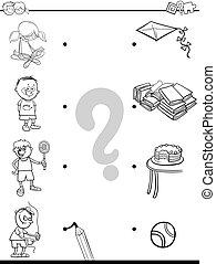 actividades, libro colorear, igual, niños