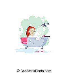 actividades, mujeres, el bañarse, diario,  vector, Ilustración, rutina